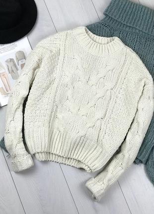 Белый велюровый свитер крупной вязки primark