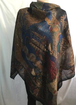 Шерстяная шаль платок с принтом , роуль