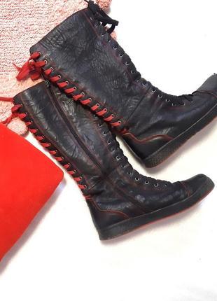 Неформальные кеды - сапоги со шнуровкой на плоском ходу