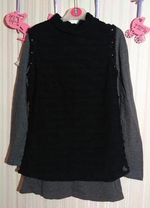 Двойное серо-черное платье от fracomina mini р. 12 лет (152)