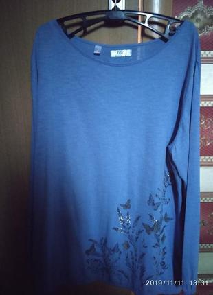 Блуза новая коттон стрейч большой размер 58/60 bonprix голубая