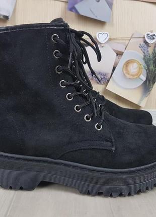 Зимние ботинки броги марти на широкой подошве тракторной акция