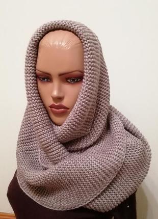 Стильный шарф хомут снуд капучино