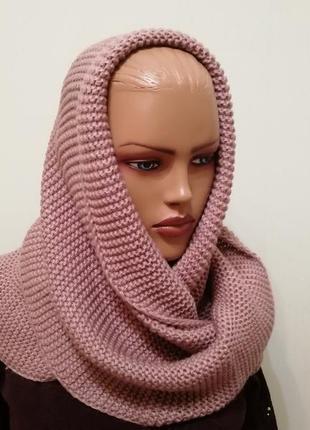 Стильный шарф снуд хомут пыльная роза