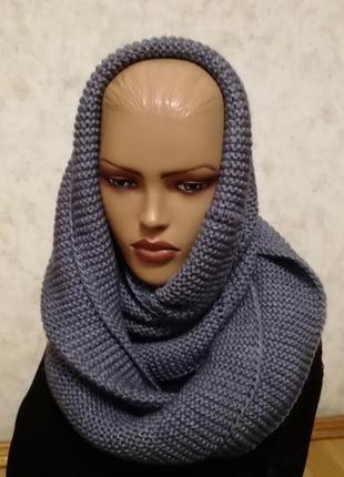 Стильный шарф хомут снуд джинс