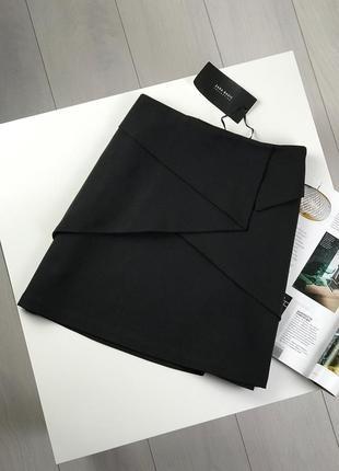 Черная юбка из костюмной ткани zara