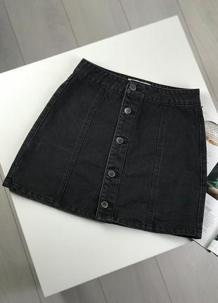 Джинсовая юбка на пуговицах new look