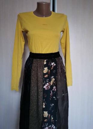 Винтажная юбка миди осень бархат плиссе коричневая stonebridge