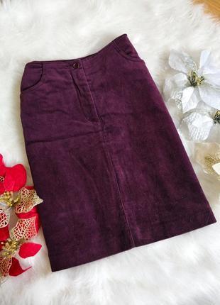 Трендова вельветова юбка спідниця модного баклажанового кольору sprit