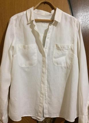 Белая льняная рубашка женская