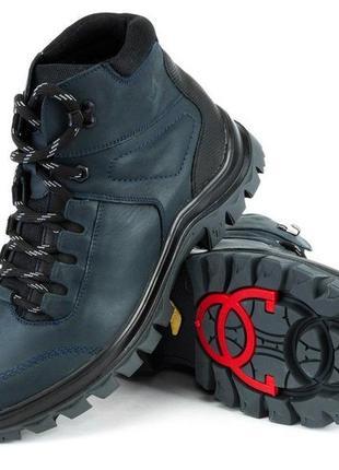 Ботинки зимние (ледоходы) на шнурках,mida, синие, размер 42