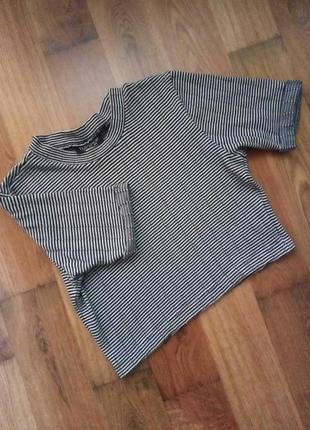 Полоска кроп топ укороченная футболка гольф короткий рукав