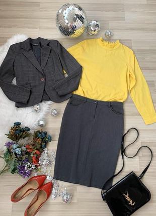 Комплект офис жакет юбка италия и натуральная блуза р 44 м
