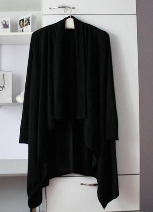 Черный мягкий удлиненный кардиган под замшу от qed london