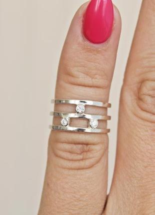 Серебряное кольцо кристи двойное фаланговое р.14,5