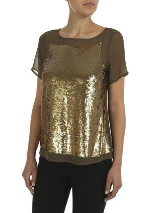 Шифоновая блуза с золотыми паетками
