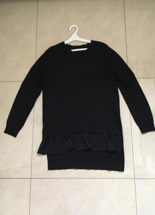 Тёплая чёрная кофточка с баской