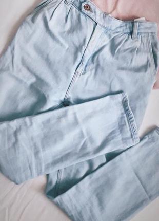 Котонові джинси мом бойфренди легенькі світлий джинс