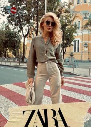 Zara льняная рубашка в свободном стиле