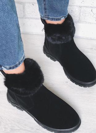 Новые зимние черные ботинки с мехом под замш замшевые полусапожки сапоги