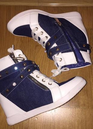 Сеикерсы, кроссовки на платформе, джинсовые кроссовки, белые кроссовки