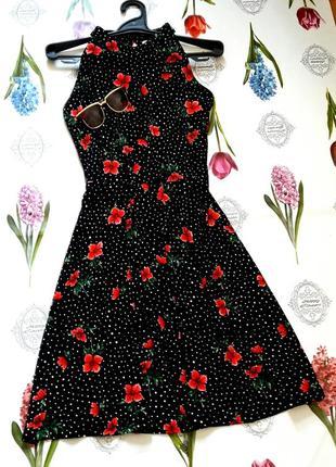 Красивое платье миди в горох с цветами от oasis