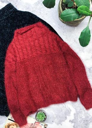 Крутой свитер английской вязки травка оверсайз