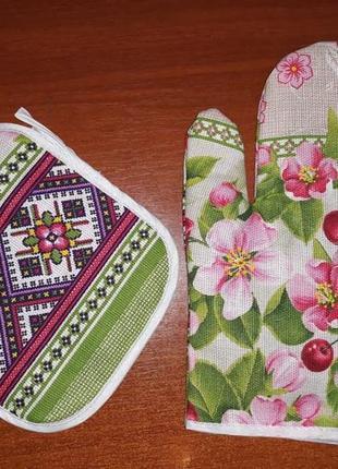 Кухонный набор, прихватка и рукавица льняная цветы, кухонний набір