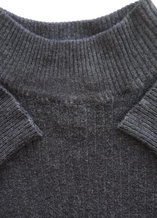 Меланжевый гольф водолазка лонгслив джемпер под горло свитер в рубчик