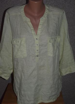 Льняная рубашка m&s paзм uk 20