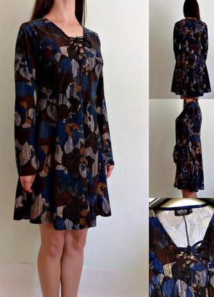Уютное мягкое платье со шнуровкой спереди