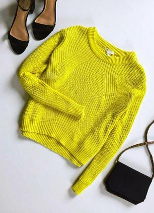 Вязаный свитер. яркий тёплый свитер крупной вязки h&m