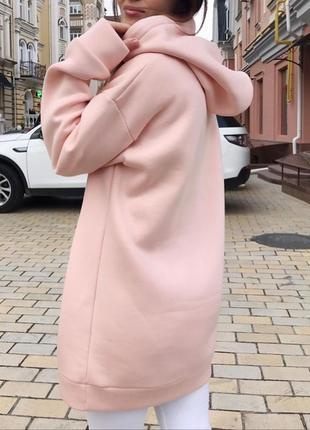 Теплое флисовое худи свитшот оверсайз с капюшоном карманом пудровое персиковое беж