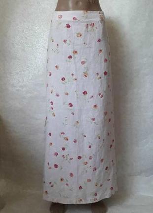 Новая лёгкая воздушная летняя юбка в пол со 100% льна в цветочках, размер с-м