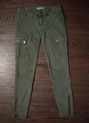 Брюки карго джинсы поведневные штаны скини молния штаны хаки