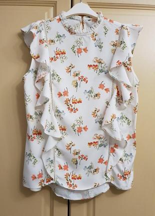 Цветочная блузка летняя с рюшами