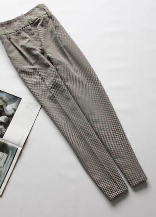 Красивые брюки в клетку коричневые беж 14 хл