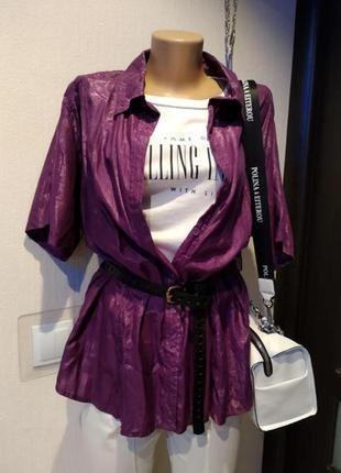 Яркая рубашка блузка женская с металлическим отливом фиолетовая