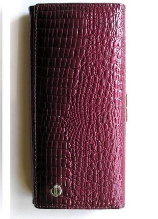 Большой кожаный лаковый кошелек слива, 100% натуральная кожа, есть доставка бесплатно