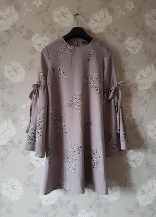Стильное шифоновое платье в цветочный принт,платье с широкими рукавами,стильное платье