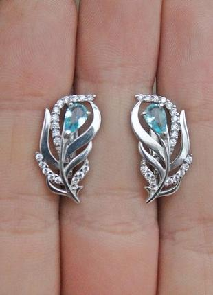 Серебряные серьги жар-птица голубые