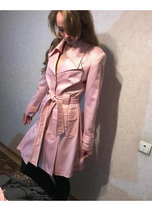 Плащ розовый в горошек рус 46