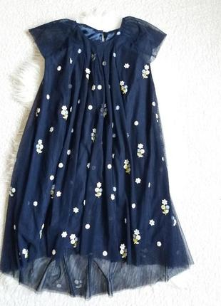 Расклешенное платье из сетки  с апликацией