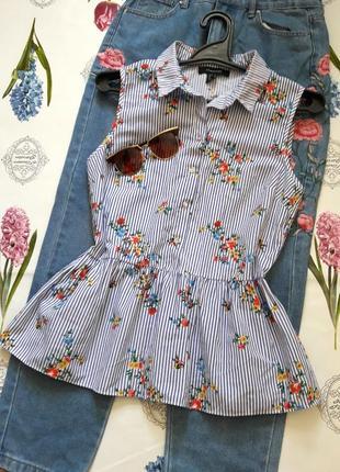Красивая блуза в полоску с цветами с баской atmosphere