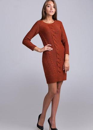 Теплое платье-туника из мягкой и комфортной пряжи облегающего силуэта, 4193м