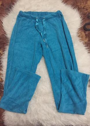 Голубые спортивные домашние уютные мягкие штаны
