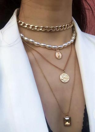 Ожерелье бусы цепочка подвеска на шею многослойное золотое камни монета жемчуг