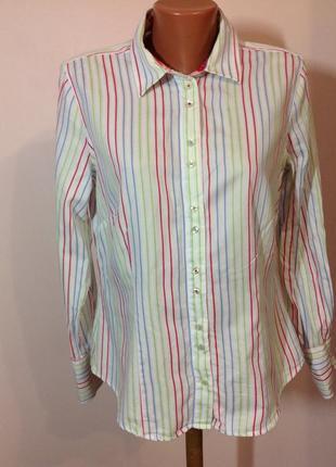 Milano- italy- donna-l/ красивая котоновая офисная рубашка в полоску