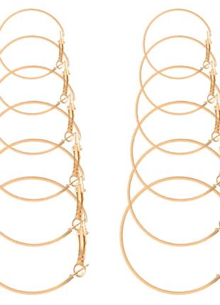 Серьги - кольца 6 пар набор