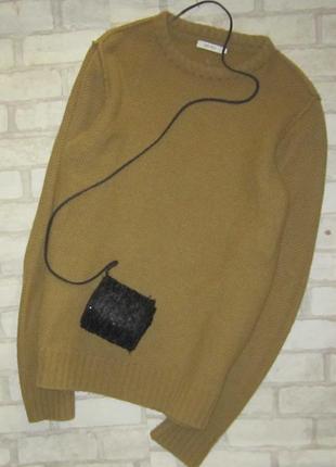 Удлиненный свитер-платье,крупная вязка, горчичного цвета